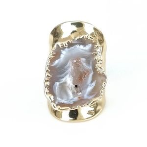 Natural agate druzy slice statement ring